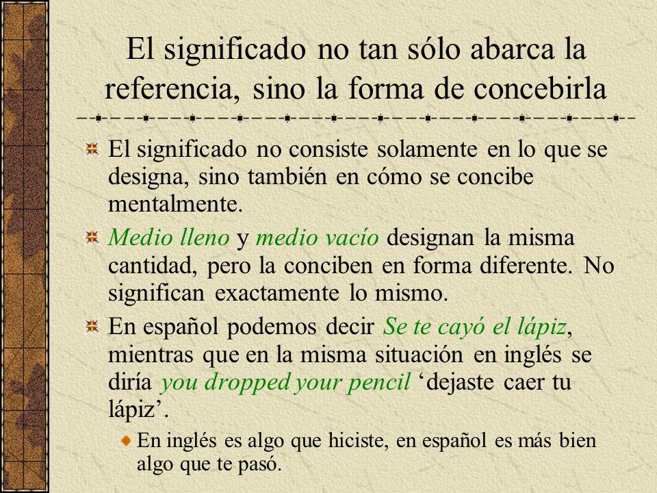 El significado no tan sólo abarca la referencia, sino la forma de concebirla El significado no consiste solamente en lo que se designa, sino también e