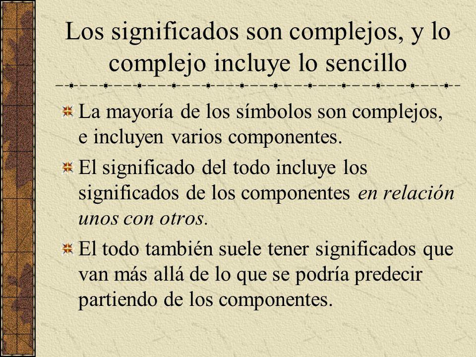 Los significados son complejos, y lo complejo incluye lo sencillo La mayoría de los símbolos son complejos, e incluyen varios componentes. El signific