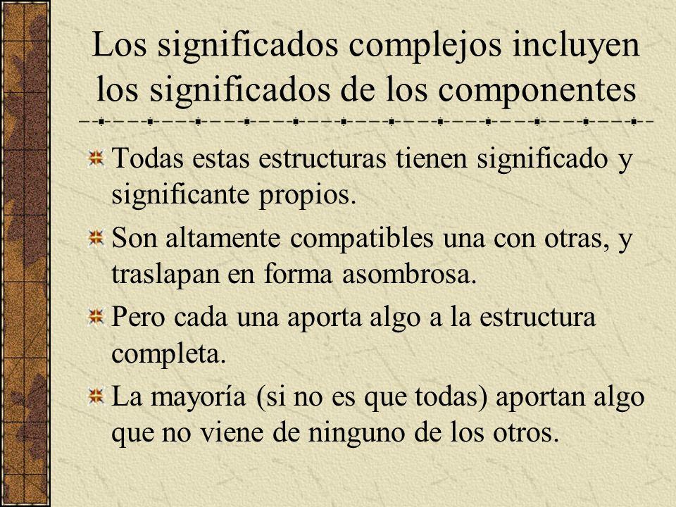 Los significados complejos incluyen los significados de los componentes Todas estas estructuras tienen significado y significante propios. Son altamen