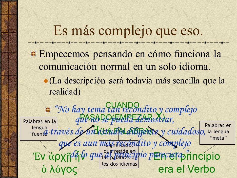 Es más complejo que eso. Empecemos pensando en cómo funciona la comunicación normal en un solo idioma. (La descripción será todavía más sencilla que l