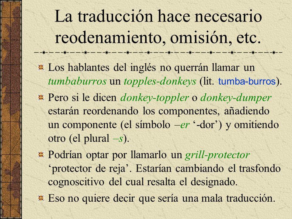 La traducción hace necesario reodenamiento, omisión, etc. Los hablantes del inglés no querrán llamar un tumbaburros un topples-donkeys (lit. tumba-bur