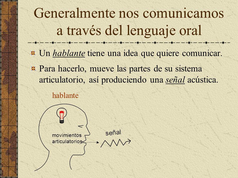 Generalmente nos comunicamos a través del lenguaje oral Un hablante tiene una idea que quiere comunicar. hablante movimientos articulatorios Para hace