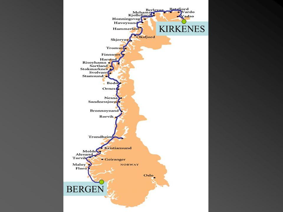 Hurtigruten (Ruta directa) Ferry & Transport Service entre Bergen i Kirkenes, los orígenes de esta ruta marítima se remonta mas de cien años. Esta rut