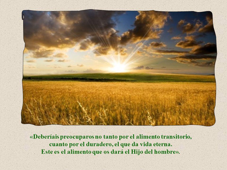 Por lo tanto, se puede decir que el pan que no perece es Jesús en persona que se nos da en su Palabra y en la Eucaristía.