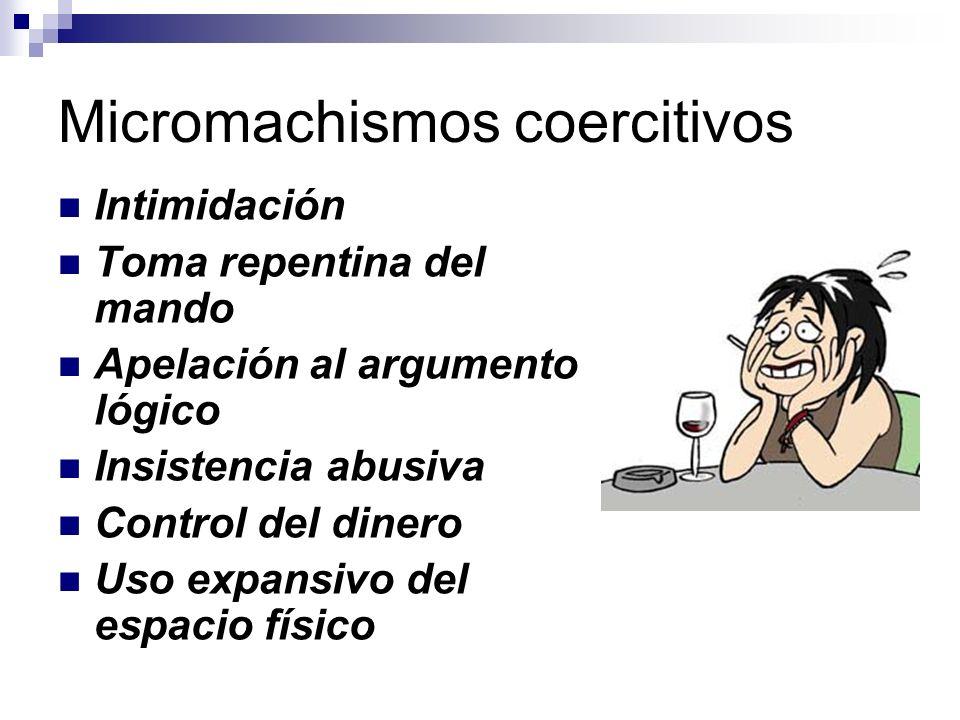 Tres tipos de micromachismos Coercitivos: el hombre usa la fuerza moral, psíquica, económica o de la propia personalidad, para intentar doblegar y hac