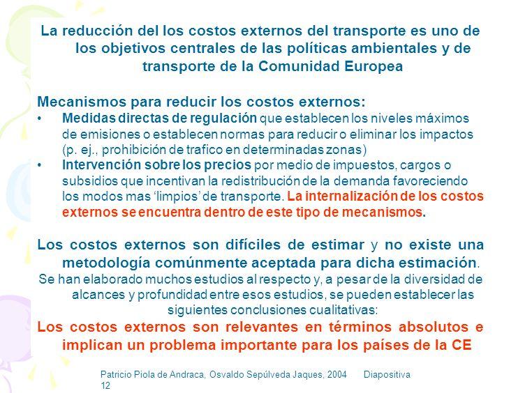 Patricio Piola de Andraca, Osvaldo Sepúlveda Jaques, 2004 Diapositiva 11 Relevancia de los Costos Externos del Transporte