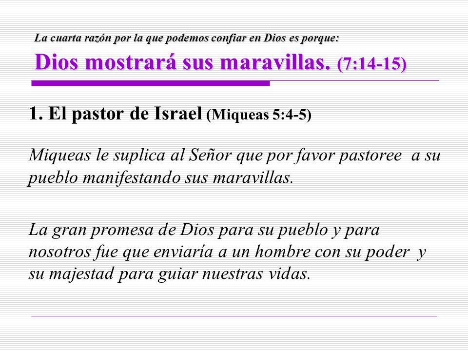 La cuarta razón por la que podemos confiar en Dios es porque: Dios mostrará sus maravillas. (7:14-15) 1. El pastor de Israel (Miqueas 5:4-5) Miqueas l