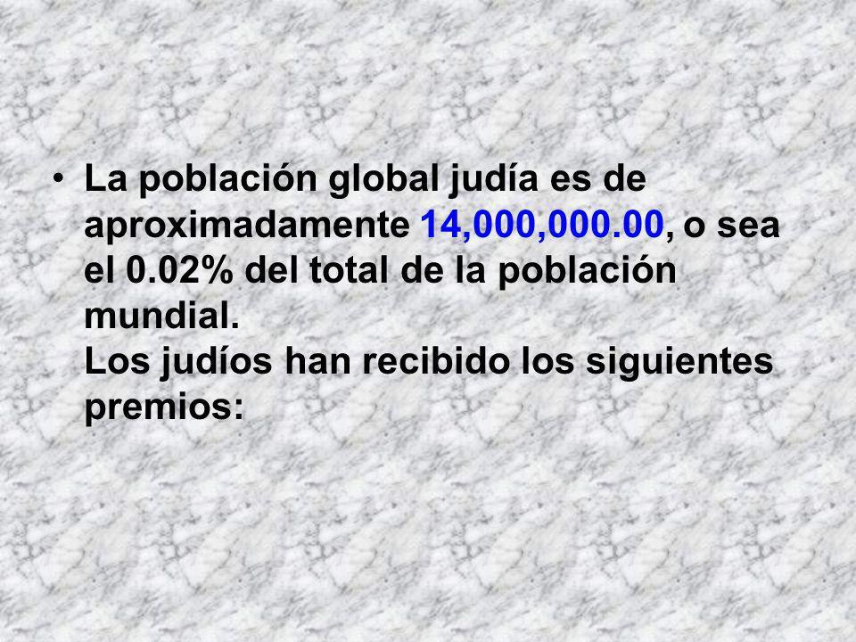 La población global judía es de aproximadamente 14,000,000.00, o sea el 0.02% del total de la población mundial. Los judíos han recibido los siguiente