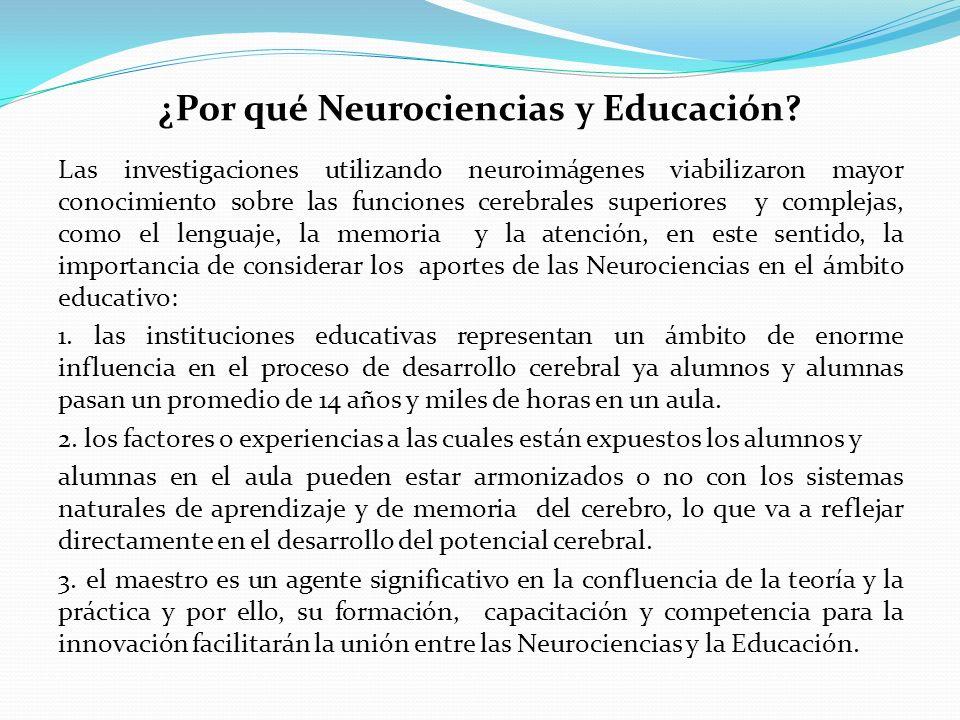 Las investigaciones utilizando neuroimágenes viabilizaron mayor conocimiento sobre las funciones cerebrales superiores y complejas, como el lenguaje, la memoria y la atención, en este sentido, la importancia de considerar los aportes de las Neurociencias en el ámbito educativo: 1.