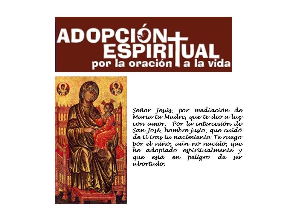 Señor Jesús, por mediación de María tu Madre, que te dio a luz con amor. Por la intercesión de San José, hombre justo, que cuidó de ti tras tu nacimie