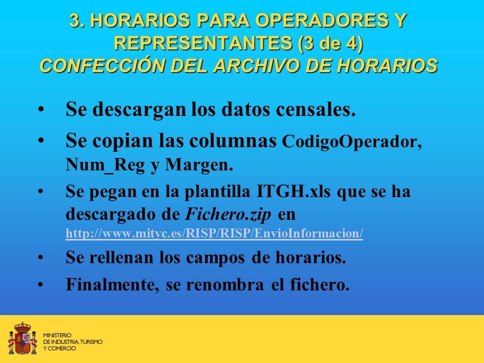 3. HORARIOS PARA OPERADORES Y REPRESENTANTES (3 de 4) CONFECCIÓN DEL ARCHIVO DE HORARIOS Se descargan los datos censales. Se copian las columnas Codig