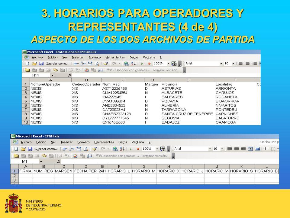 3. HORARIOS PARA OPERADORES Y REPRESENTANTES (4 de 4) ASPECTO DE LOS DOS ARCHIVOS DE PARTIDA