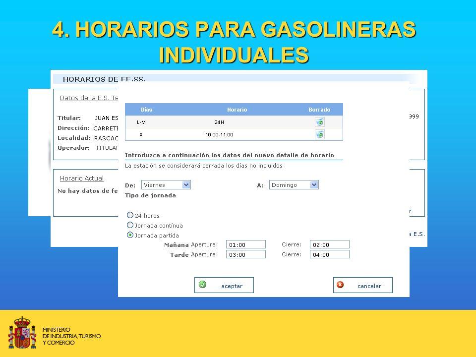 4. HORARIOS PARA GASOLINERAS INDIVIDUALES
