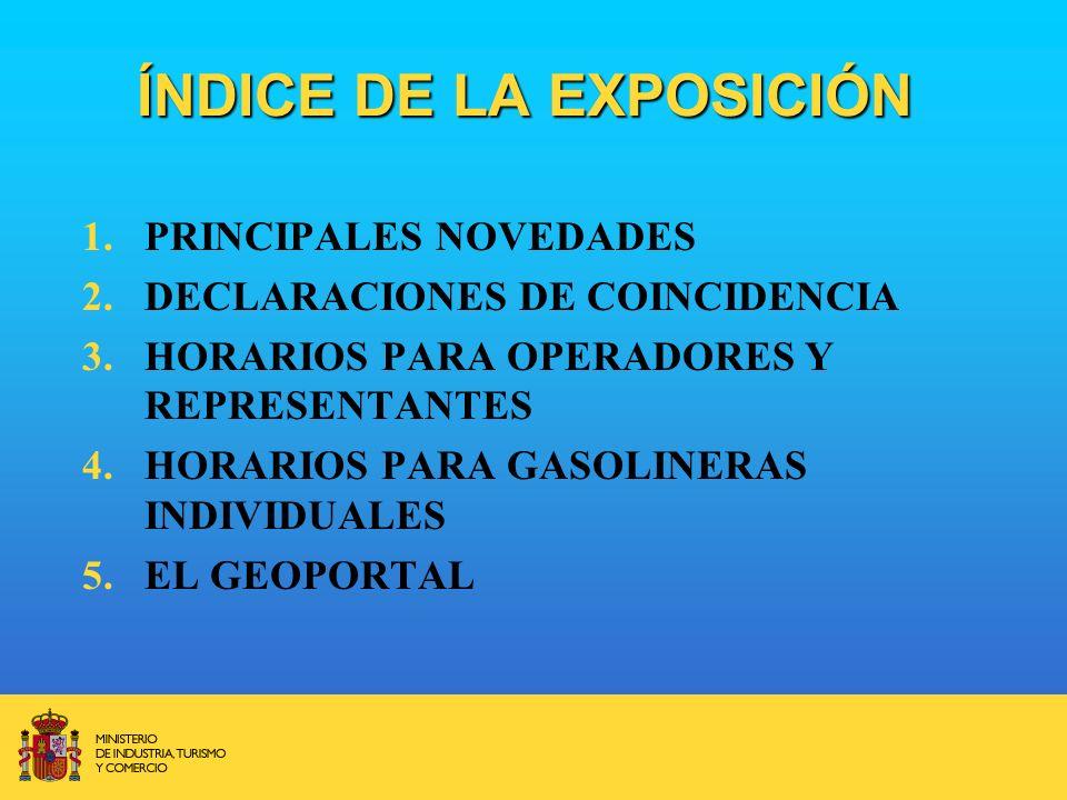 ÍNDICE DE LA EXPOSICIÓN 1.PRINCIPALES NOVEDADES 2.DECLARACIONES DE COINCIDENCIA 3.HORARIOS PARA OPERADORES Y REPRESENTANTES 4.HORARIOS PARA GASOLINERAS INDIVIDUALES 5.EL GEOPORTAL