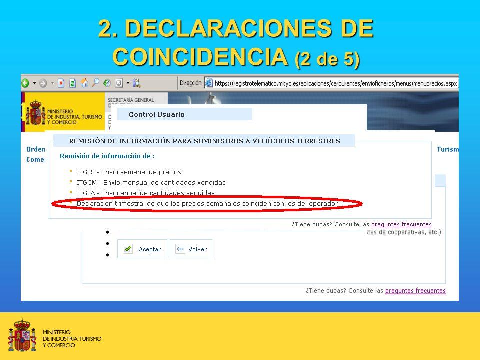 2. DECLARACIONES DE COINCIDENCIA (2 de 5)