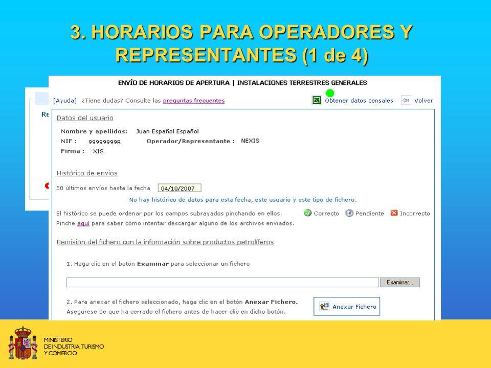 3. HORARIOS PARA OPERADORES Y REPRESENTANTES (1 de 4)