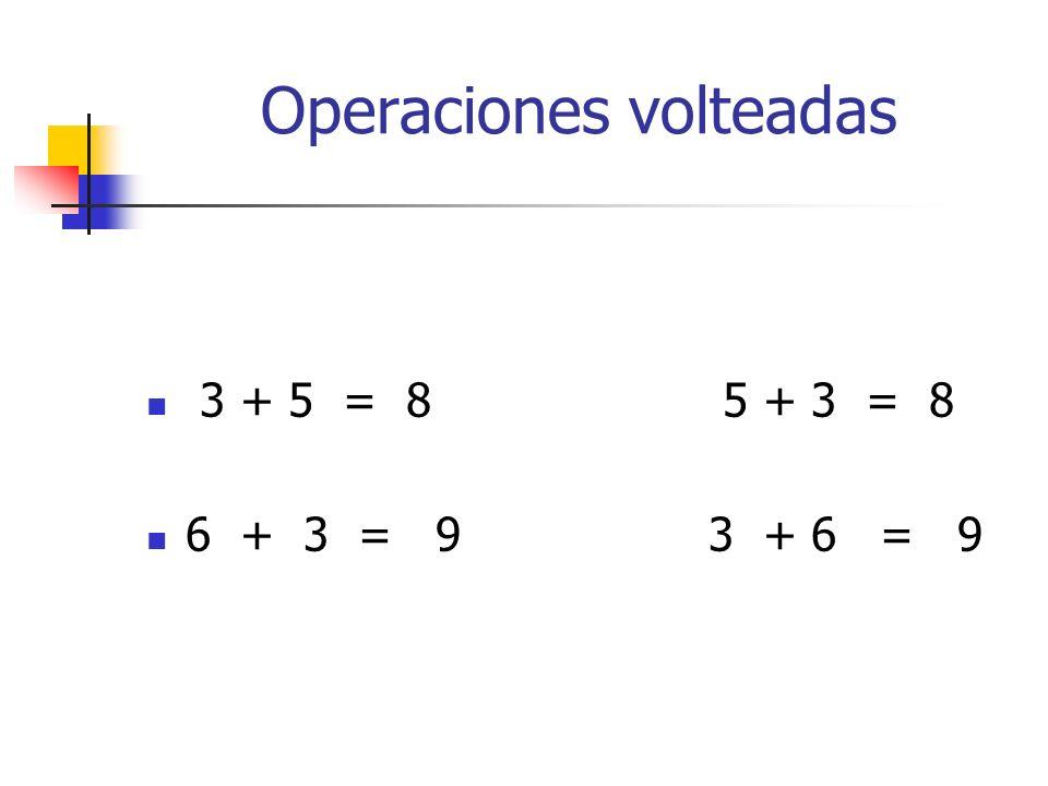 Operaciones volteadas 3 + 5 = 8 5 + 3 = 8 6 + 3 = 9 3 + 6 = 9