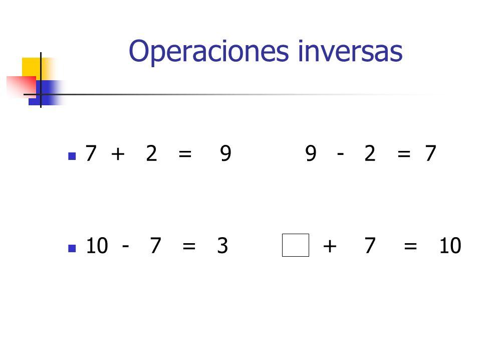 Operaciones inversas 7 + 2 = 9 9 - 2 = 7 10 - 7 = 3 + 7 = 10