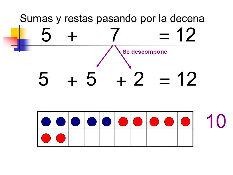 + = + + = 5 7 12 552 Se descompone 10 Sumas y restas pasando por la decena
