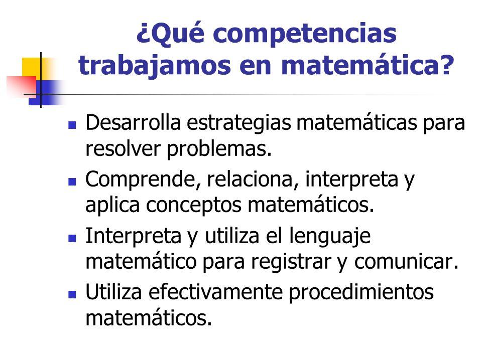 ¿Qué competencias trabajamos en matemática? Desarrolla estrategias matemáticas para resolver problemas. Comprende, relaciona, interpreta y aplica conc