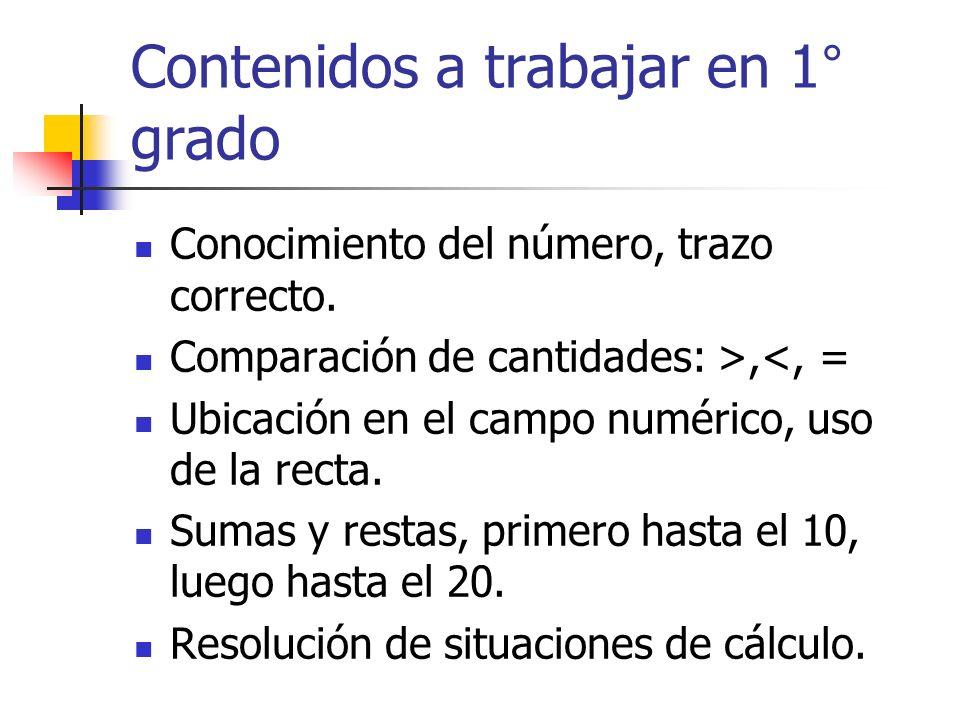 Contenidos a trabajar en 1° grado Conocimiento del número, trazo correcto. Comparación de cantidades: >,<, = Ubicación en el campo numérico, uso de la