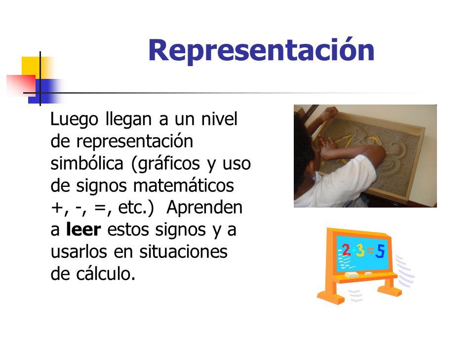 Representación Luego llegan a un nivel de representación simbólica (gráficos y uso de signos matemáticos +, -, =, etc.) Aprenden a leer estos signos y