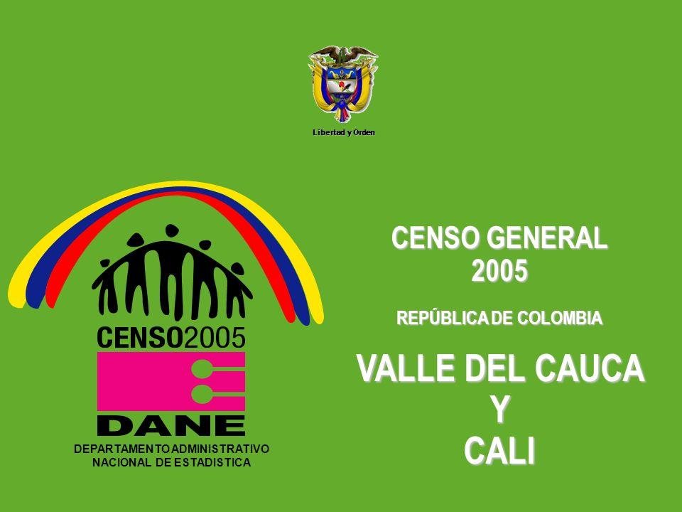 DEPARTAMENTO ADMINISTRATIVO NACIONAL DE ESTADISTICA5 Libertad y Orden DEPARTAMENTO ADMINISTRATIVO NACIONAL DE ESTADISTICA CENSO GENERAL 2005 REPÚBLICA DE COLOMBIA VALLE DEL CAUCA Y CALI