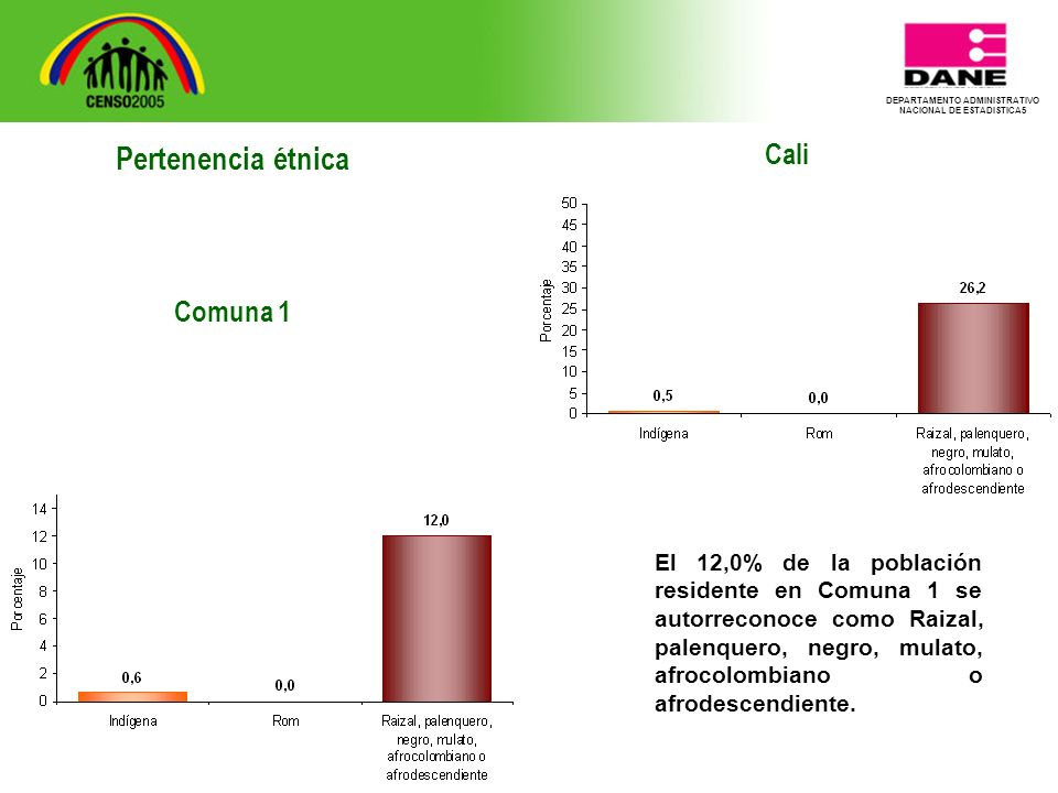 DEPARTAMENTO ADMINISTRATIVO NACIONAL DE ESTADISTICA5 Cali El 12,0% de la población residente en Comuna 1 se autorreconoce como Raizal, palenquero, negro, mulato, afrocolombiano o afrodescendiente.