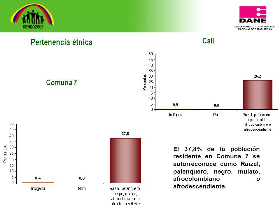 DEPARTAMENTO ADMINISTRATIVO NACIONAL DE ESTADISTICA5 Cali El 37,8% de la población residente en Comuna 7 se autorreconoce como Raizal, palenquero, negro, mulato, afrocolombiano o afrodescendiente.