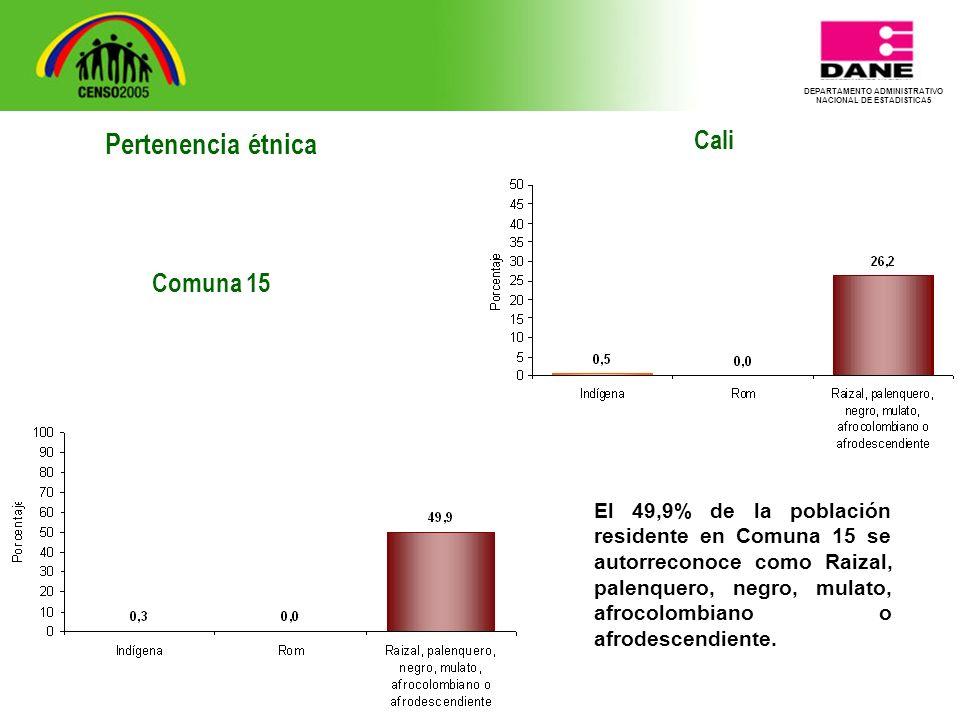 DEPARTAMENTO ADMINISTRATIVO NACIONAL DE ESTADISTICA5 Cali El 49,9% de la población residente en Comuna 15 se autorreconoce como Raizal, palenquero, negro, mulato, afrocolombiano o afrodescendiente.
