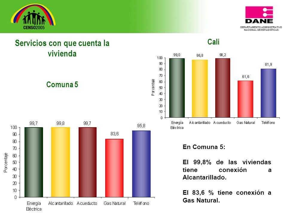 DEPARTAMENTO ADMINISTRATIVO NACIONAL DE ESTADISTICA5 Cali En Comuna 5: El 99,8% de las viviendas tiene conexión a Alcantarillado.