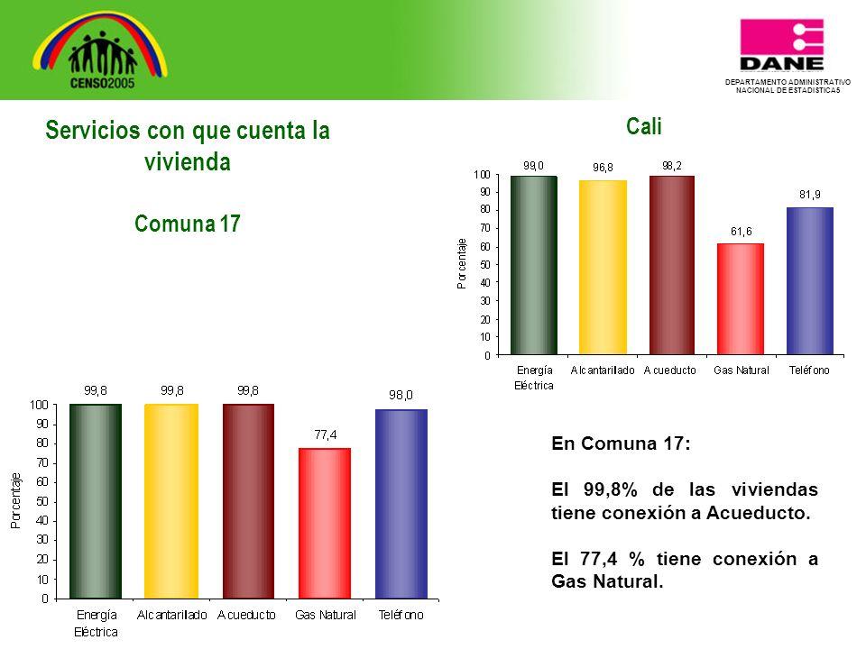DEPARTAMENTO ADMINISTRATIVO NACIONAL DE ESTADISTICA5 Cali En Comuna 17: El 99,8% de las viviendas tiene conexión a Acueducto.