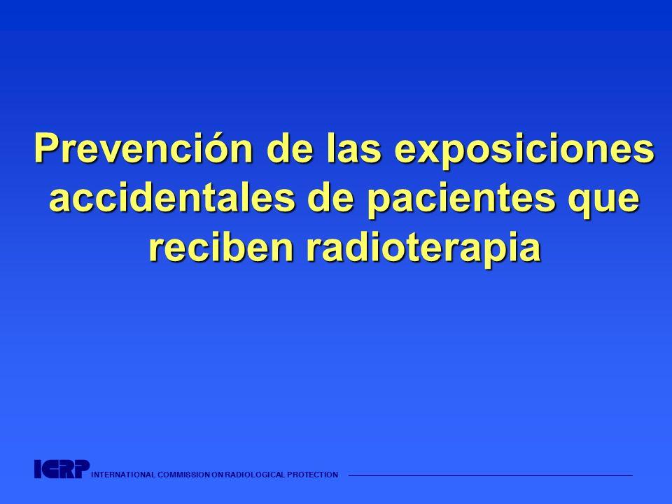 INTERNATIONAL COMMISSION ON RADIOLOGICAL PROTECTION Complicaciones de las sub- exposiciones accidentales La subdosificación accidental reduce la probabilidad de control tumoral.