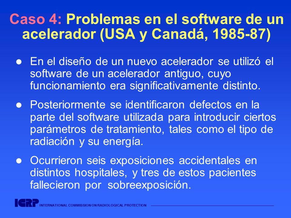 INTERNATIONAL COMMISSION ON RADIOLOGICAL PROTECTION Caso 4: Problemas en el software de un acelerador (USA y Canadá, 1985-87) En el diseño de un nuevo