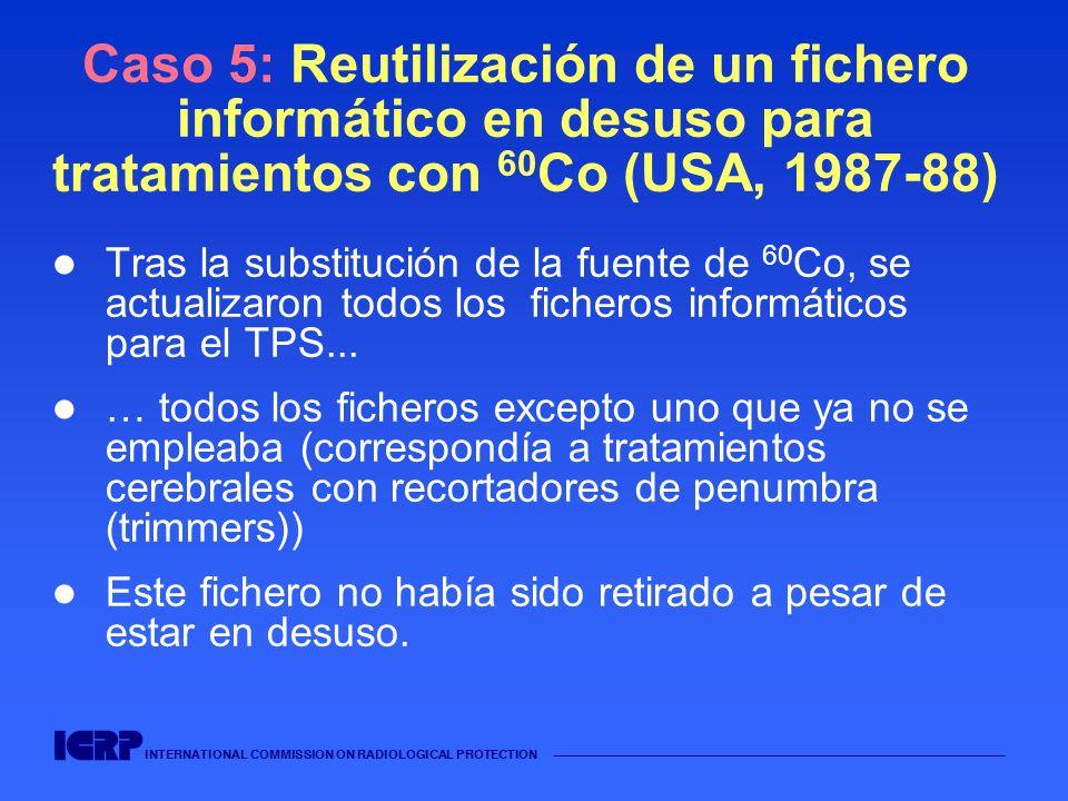 INTERNATIONAL COMMISSION ON RADIOLOGICAL PROTECTION Caso 5: Reutilización de un fichero informático en desuso para tratamientos con 60 Co (USA, 1987-8