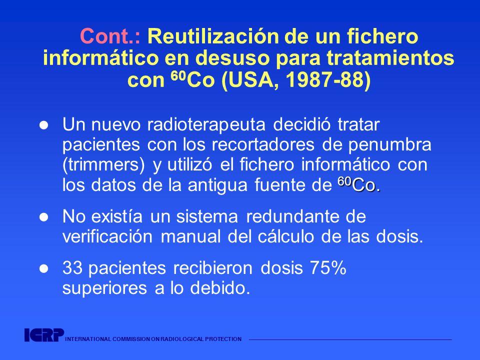 INTERNATIONAL COMMISSION ON RADIOLOGICAL PROTECTION Cont.: Reutilización de un fichero informático en desuso para tratamientos con 60 Co (USA, 1987-88
