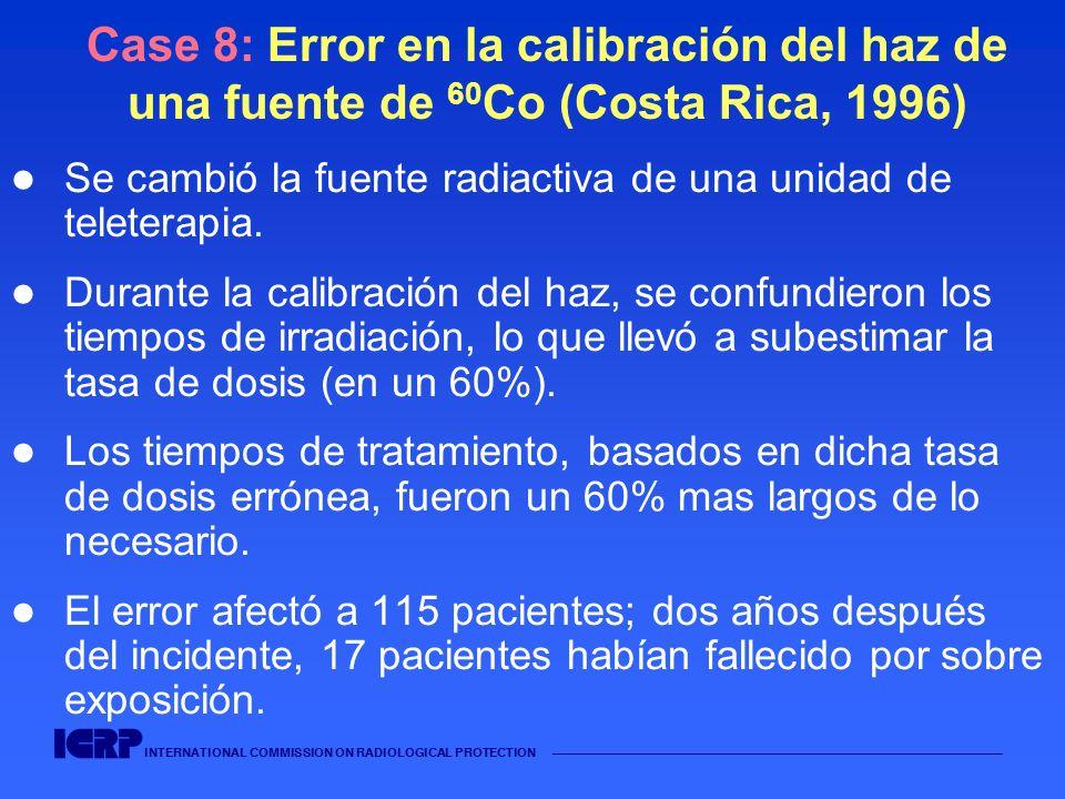 INTERNATIONAL COMMISSION ON RADIOLOGICAL PROTECTION Case 8: Error en la calibración del haz de una fuente de 60 Co (Costa Rica, 1996) Se cambió la fue