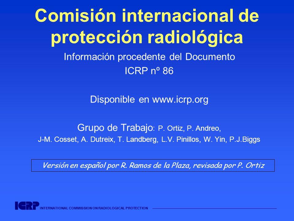 INTERNATIONAL COMMISSION ON RADIOLOGICAL PROTECTION Caso 5: Reutilización de un fichero informático en desuso para tratamientos con 60 Co (USA, 1987-88) Tras la substitución de la fuente de 60 Co, se actualizaron todos los ficheros informáticos para el TPS...