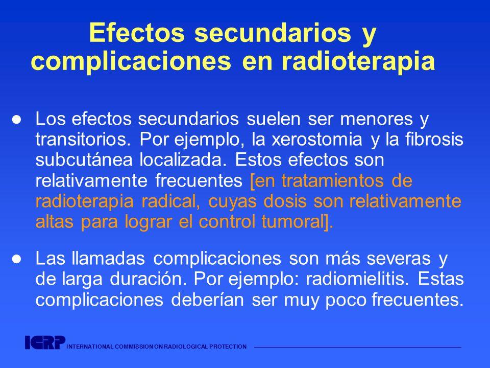 INTERNATIONAL COMMISSION ON RADIOLOGICAL PROTECTION Efectos secundarios y complicaciones en radioterapia Los efectos secundarios suelen ser menores y