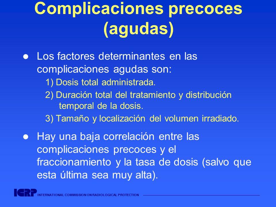 INTERNATIONAL COMMISSION ON RADIOLOGICAL PROTECTION Complicaciones precoces (agudas) Los factores determinantes en las complicaciones agudas son: 1) D