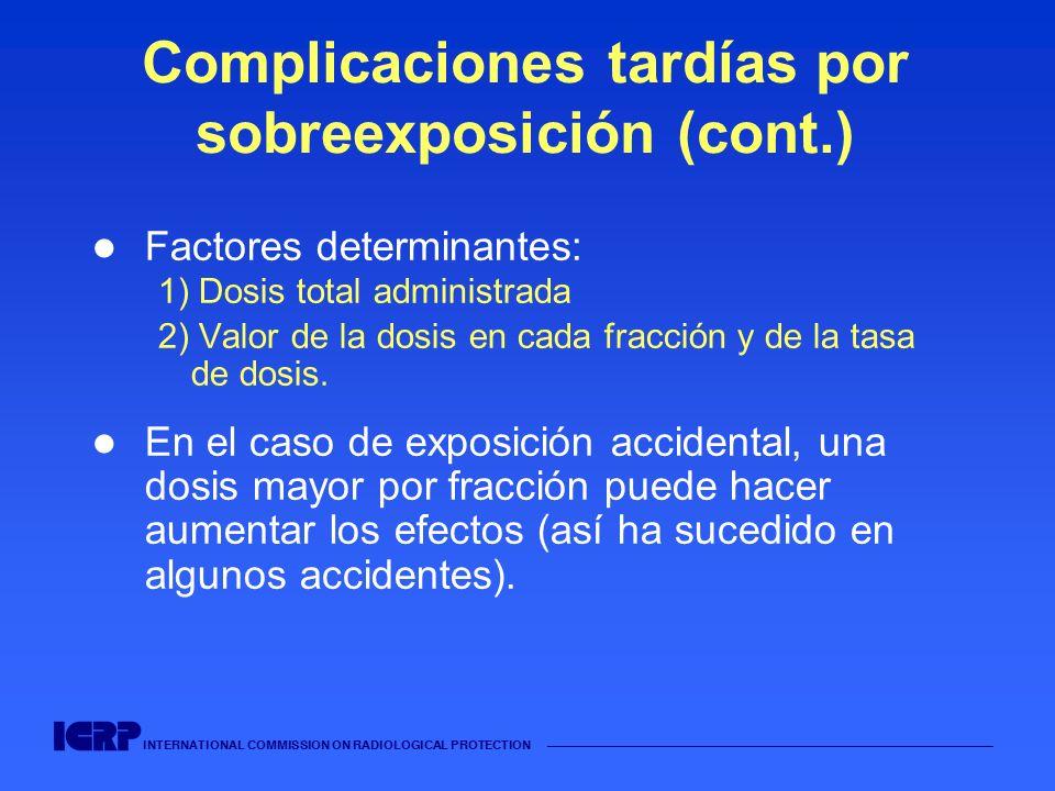 INTERNATIONAL COMMISSION ON RADIOLOGICAL PROTECTION Complicaciones tardías por sobreexposición (cont.) Factores determinantes: 1) Dosis total administ