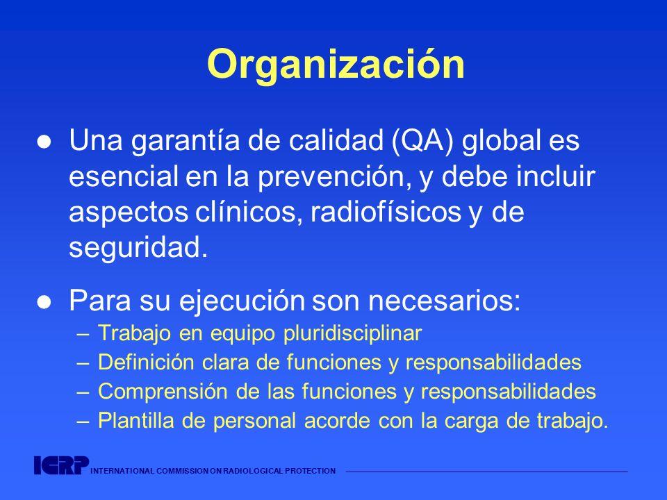 INTERNATIONAL COMMISSION ON RADIOLOGICAL PROTECTION Organización Una garantía de calidad (QA) global es esencial en la prevención, y debe incluir aspe