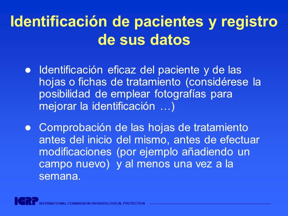 INTERNATIONAL COMMISSION ON RADIOLOGICAL PROTECTION Identificación de pacientes y registro de sus datos Identificación eficaz del paciente y de las ho