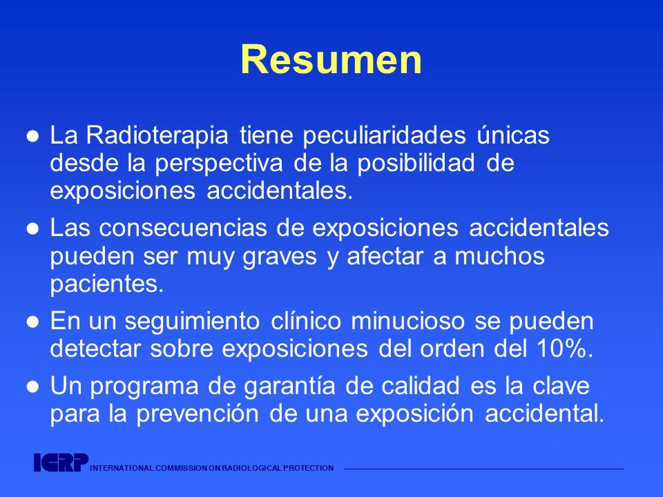 INTERNATIONAL COMMISSION ON RADIOLOGICAL PROTECTION Resumen La Radioterapia tiene peculiaridades únicas desde la perspectiva de la posibilidad de expo