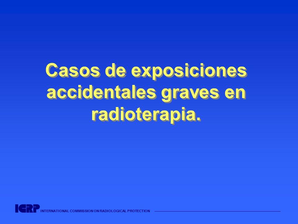 INTERNATIONAL COMMISSION ON RADIOLOGICAL PROTECTION Cont.: Reparación incorrecta de un acelerador y fallos en las notificaciones (España, 1990) Se observó una discrepancia entre la energía que aparecía en el indicador del panel de control y la energía seleccionada.