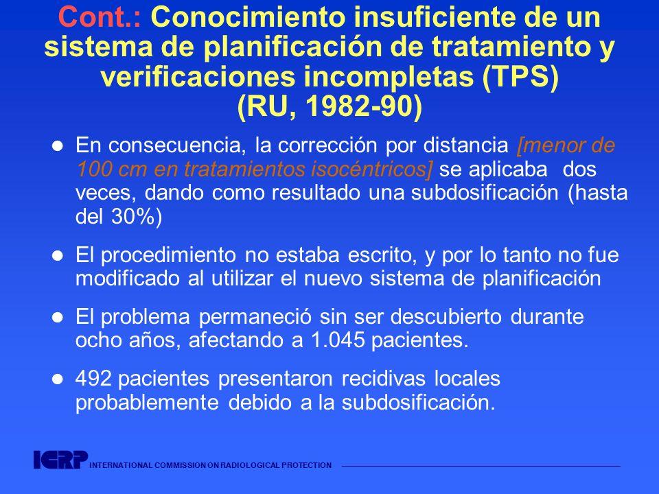 INTERNATIONAL COMMISSION ON RADIOLOGICAL PROTECTION Cont.: Conocimiento insuficiente de un sistema de planificación de tratamiento y verificaciones in