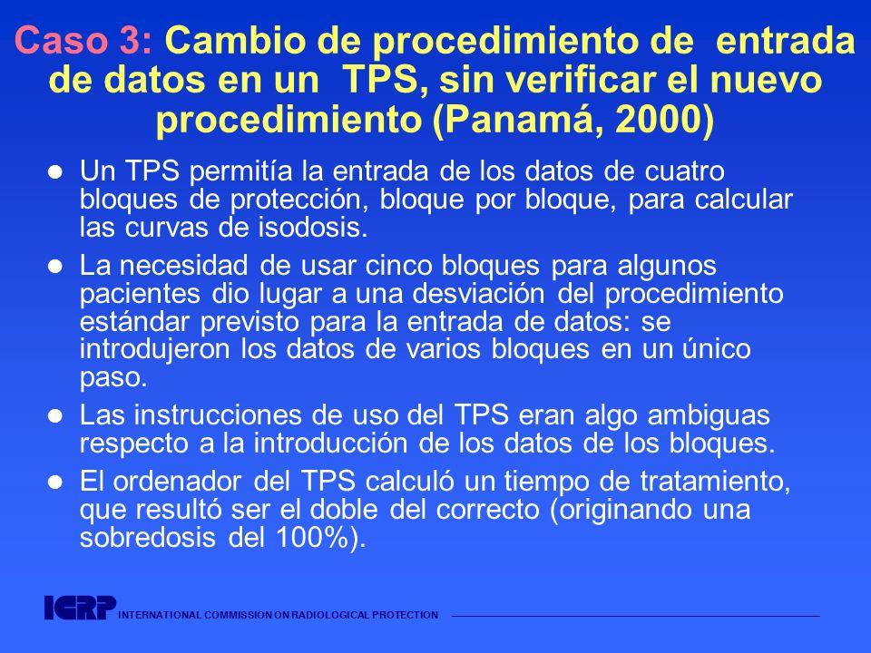 INTERNATIONAL COMMISSION ON RADIOLOGICAL PROTECTION Caso 3: Cambio de procedimiento de entrada de datos en un TPS, sin verificar el nuevo procedimiento (Panamá, 2000) No existía procedimiento escrito para el uso del TPS, por lo que el cambio realizado nunca se escribió ni se verificó para su validación.