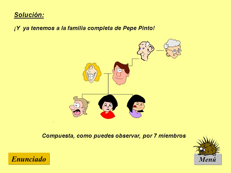 Enunciado Menú Solución: ¡Y ya tenemos a la familia completa de Pepe Pinto! Compuesta, como puedes observar, por 7 miembros