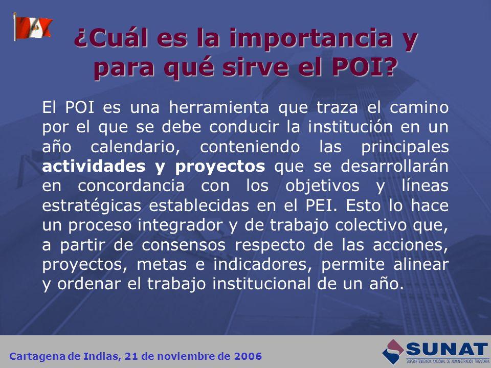 Cartagena de Indias, 21 de noviembre de 2006 ¿Cuál es la importancia y para qué sirve el POI? El POI es una herramienta que traza el camino por el que