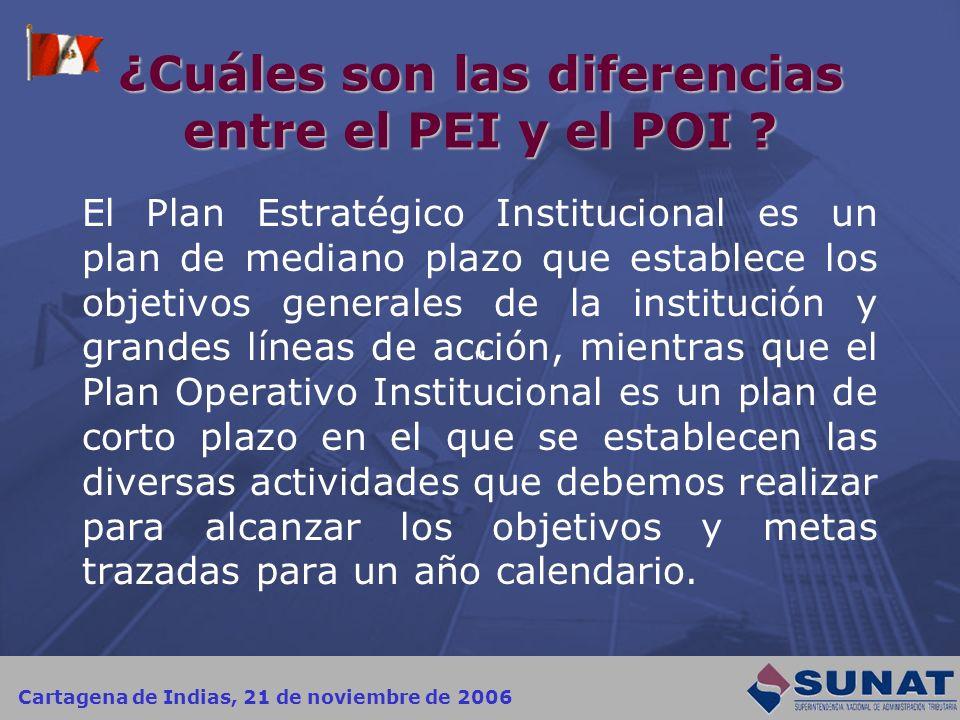 Cartagena de Indias, 21 de noviembre de 2006 ¿Cuáles son las diferencias entre el PEI y el POI ? El Plan Estratégico Institucional es un plan de media